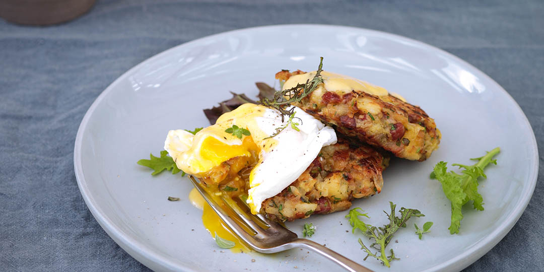 Bubble & Squeak brunch served with poached egg. Recipe courtesy of Daylesford.